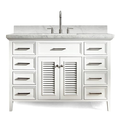 "Ariel D049S-VO Kensington 48"" Freestanding Vanity Set with Wood Cabinet, Marble"