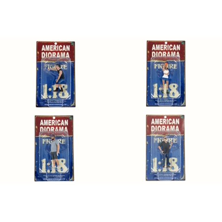 American Diorama Hot Rodders - Set of Four 1/18 Scale Figurines (Diecast Accessories)