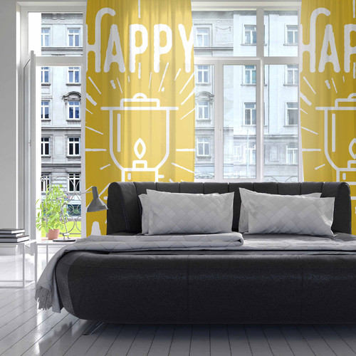 East Urban Home Happy Camper Graphic Print & Text Sheer R...