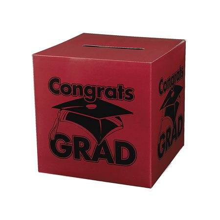 Fun Express - Congrats Grad Burgundy Card Box for Graduation - Party Supplies - Containers & Boxes - Paper Boxes - Graduation - 1 Piece](Graduation Party Card Box)