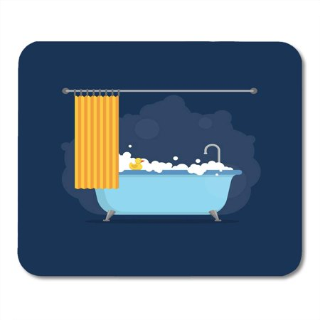 LADDKE Bathtub with Foam Bubbles Inside and Bath Yellow Rubber Duck and Open Shower Blue Time in Flat Style Mousepad Mouse Pad Mouse Mat 9x10 inch