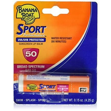 6 Pack - Banana Boat Sport Performance Sunscreen Lip Balm SPF 50 .15oz