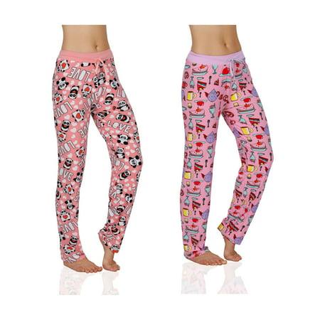 Women's Silky Soft Lounge Pajama Pants- 2 Pack, LovePandas&TeaParty, Size: XL - Sissy Pajamas