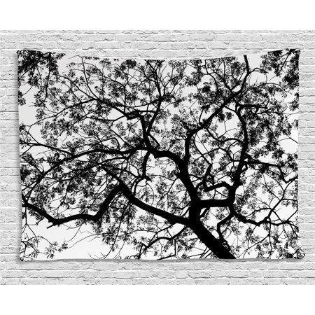 Apartment Decor Tapestry, Forest Tree Branches Modern Decor Spooky Horror Movie Themed Print, Wall Hanging for Bedroom Living Room Dorm Decor, 60W X 40L Inches, Black and White, by Ambesonne