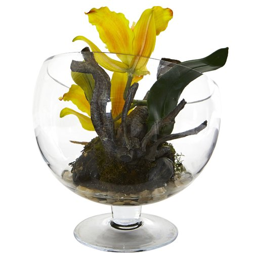 Bay Isle Home Artificial Cattleya Mini Orchid Floral Arrangement in Vase