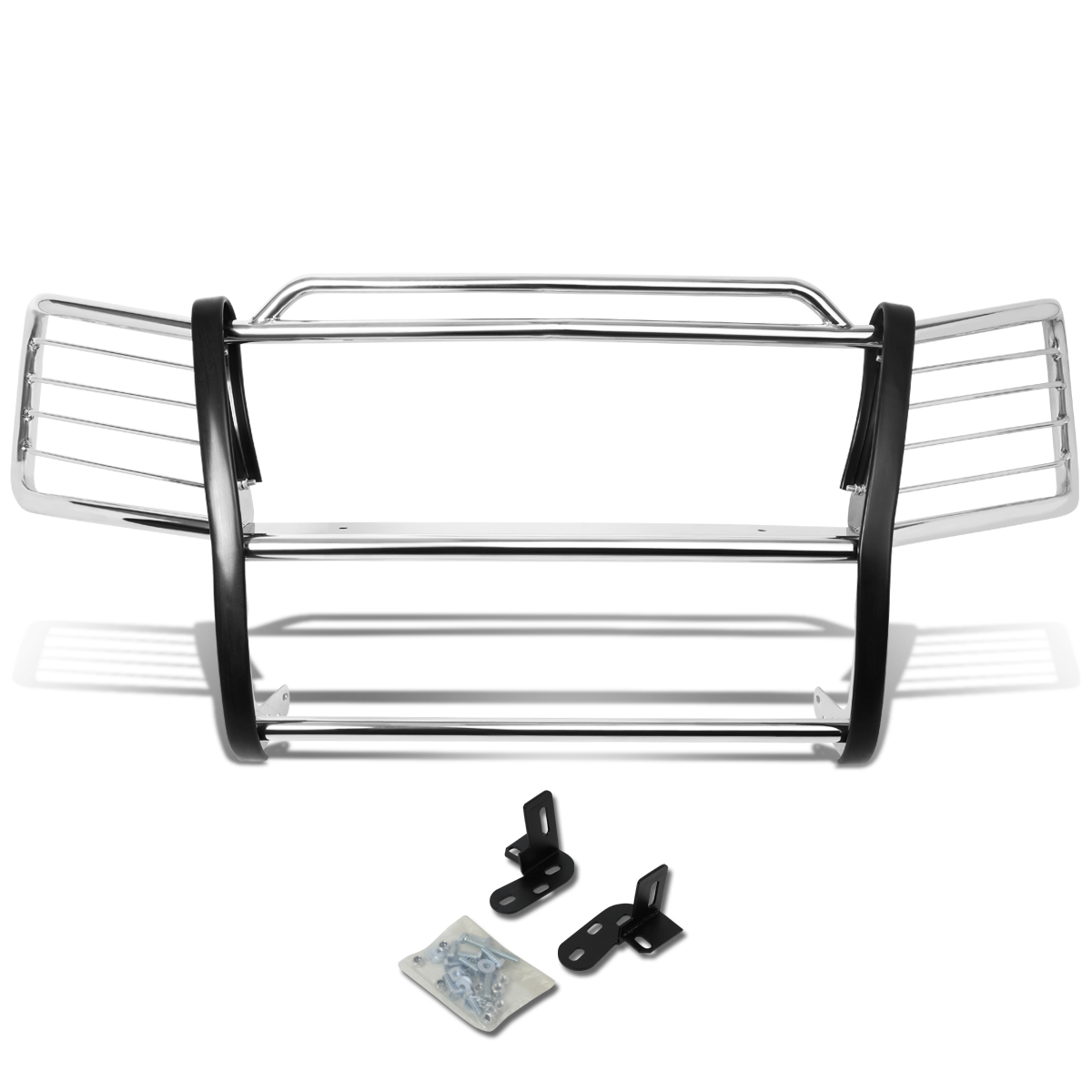 For 02-06 Chevy Avalanche with Cladding Front Bumper Protector Brush Grille Guard (Chrome) 03 04 05