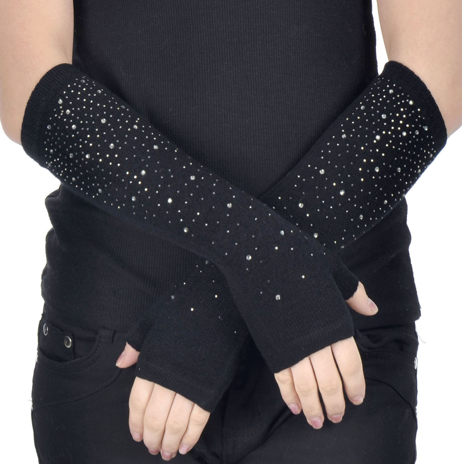 Simplicity Women's Long Knitting Stretchy Fingerless Gloves w/ Rhinestone, Black