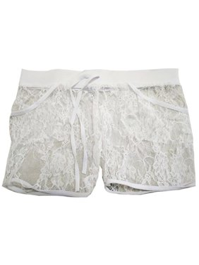 b4e02a227be0 Product Image Women Hollow Out Lace Floral Short Pants Casual Stretch Waist  Beach Shorts