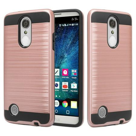 LG Rebel 3 Case, Slim Hybrid Dual Layer Metallic Brush Armor Cover Cases - Rose (Rebel Rose)