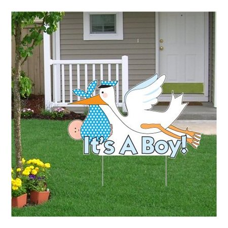 The Party Aisle ''It's a Boy!'' Stork Baby Announcement Yard Sign - Baby Announcement Signs For Yard