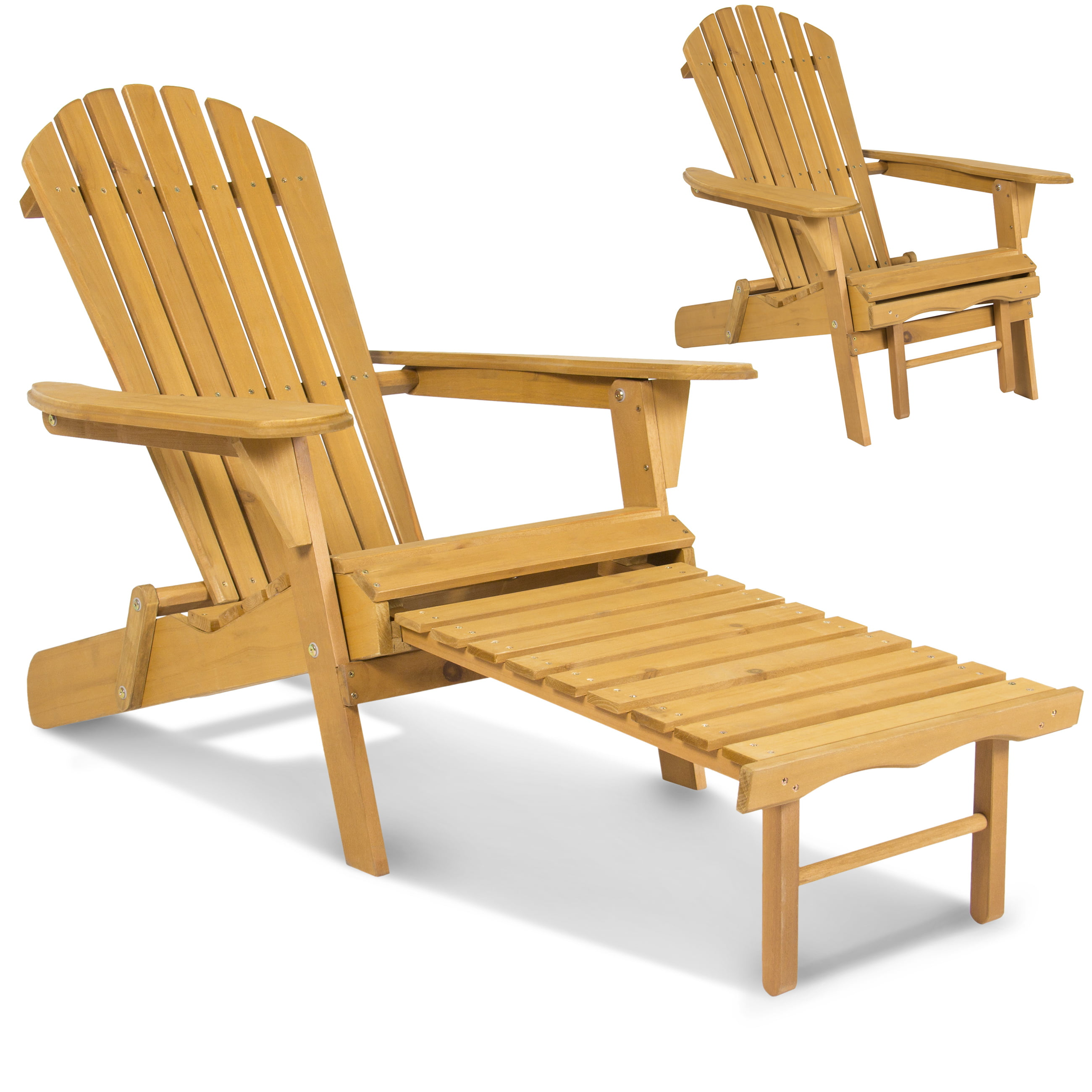 Outdoor Wood Adirondack Chair Foldable W Pull Out Ottoman Patio Deck Furniture Com