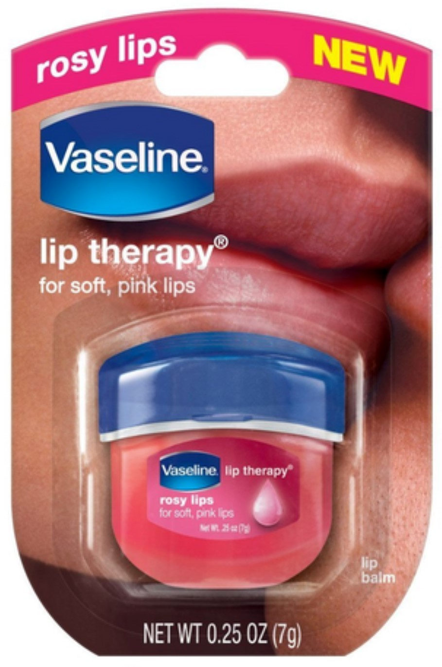 Vaseline Lip Therapy, Rosy Lips 1 ea (Pack of 2) NatraBio, Acne Relief, 1 fl oz(pack of 2)