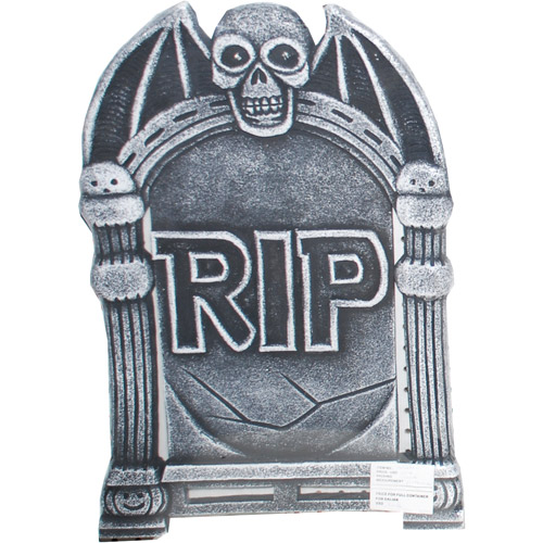 Light-Up Halloween Tombstone, Skull with Wings