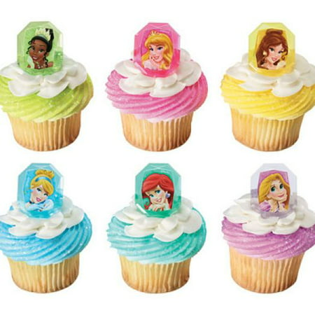 12 Disney Gemstone Princess Cupcake Cake Rings Birthday Party Favors Cake Toppers - Baby Princess Party Supplies