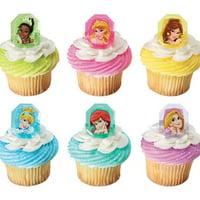 12 Disney Gemstone Princess Cupcake Cake Rings Birthday Party Favors Cake Toppers