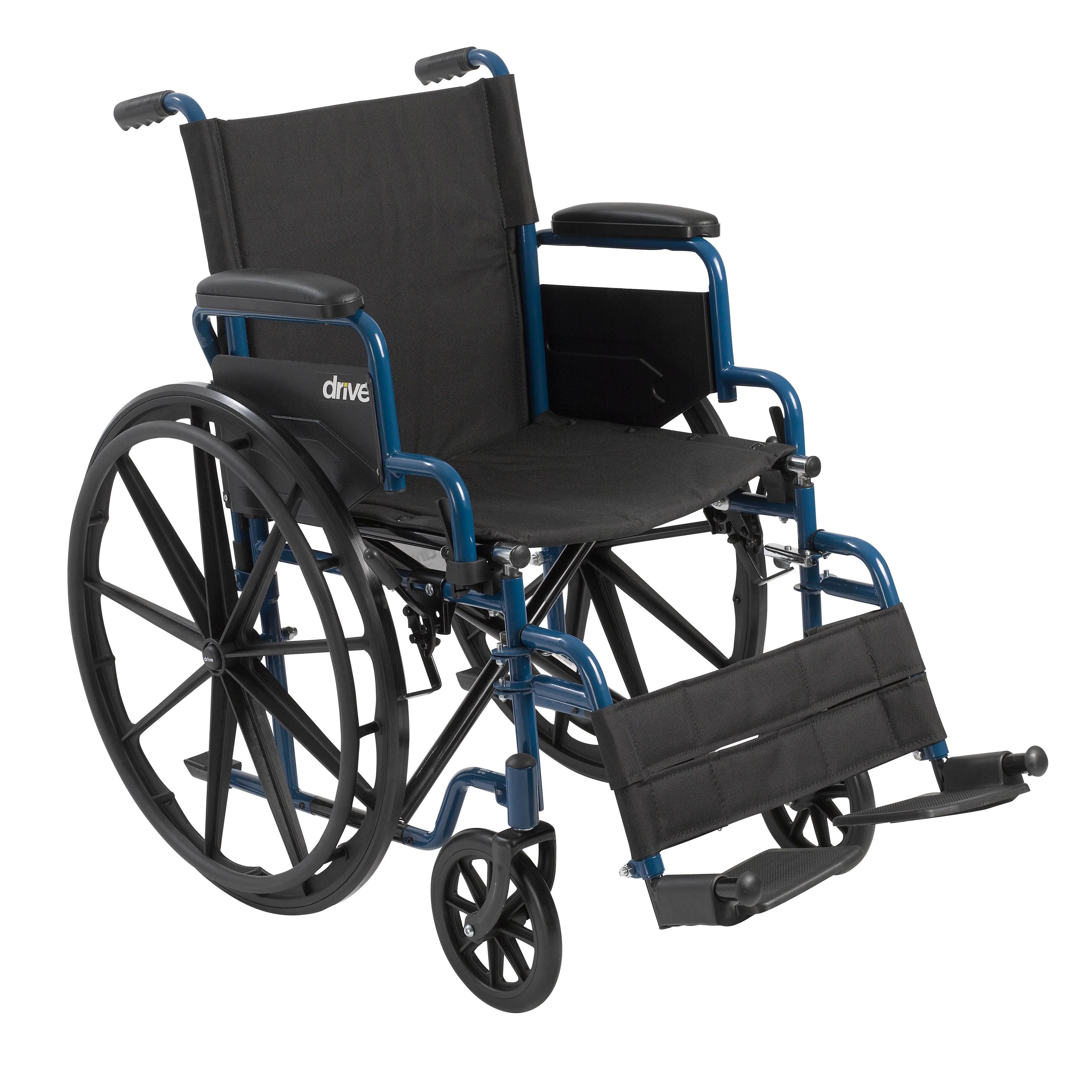 """Drive Medical Blue Streak Wheelchair with Flip Back Desk Arms, Swing Away Footrests, 20"""" Seat"""
