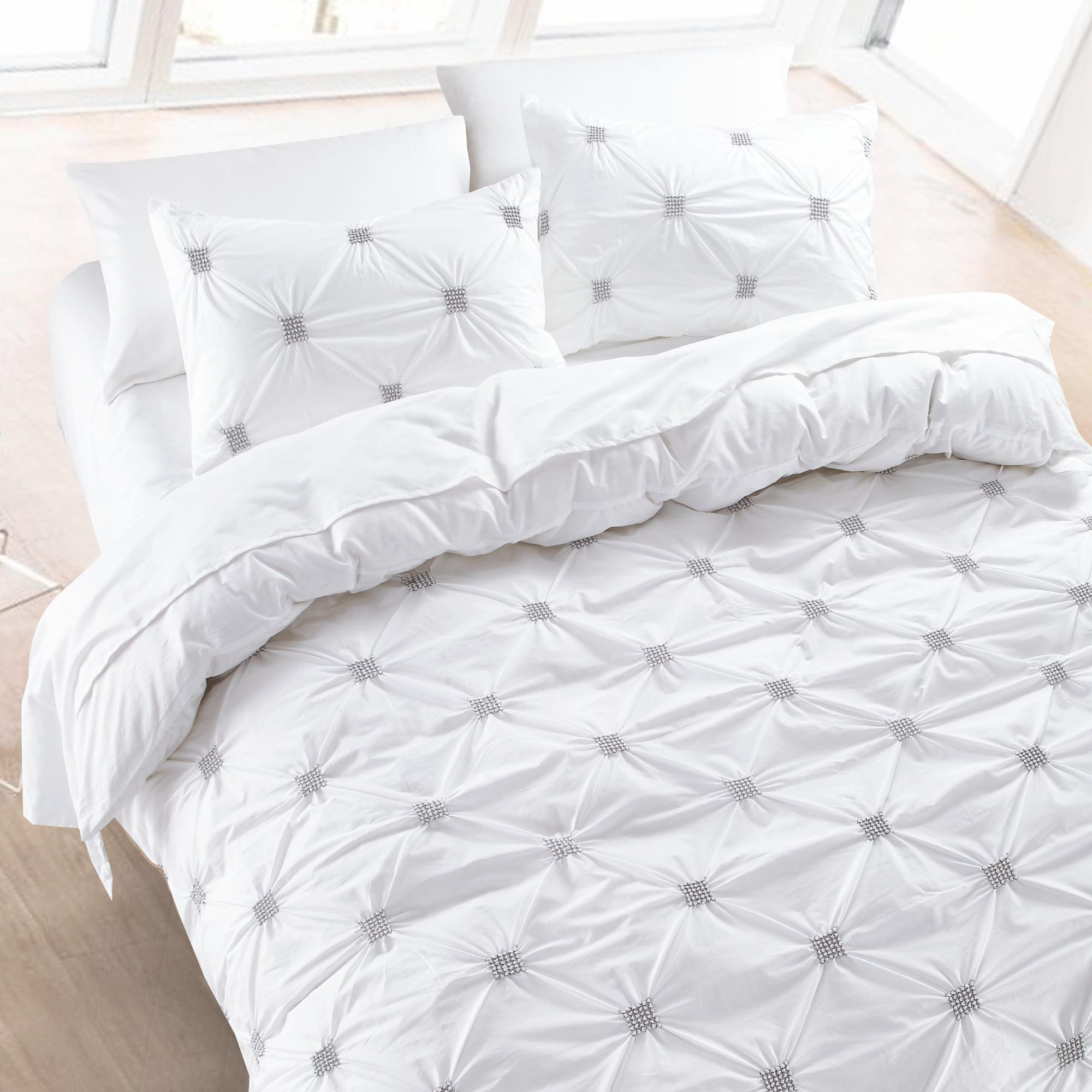 California Design Den Diamond Pintuck Duvet Cover Set Cotton Charcoal, Full/Queen 3-Piece