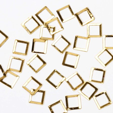 BMC Fashionably Chic 100pc Gold Metal Alloy Square Cut-Out Nail Polish Art Accessory Frame Studs
