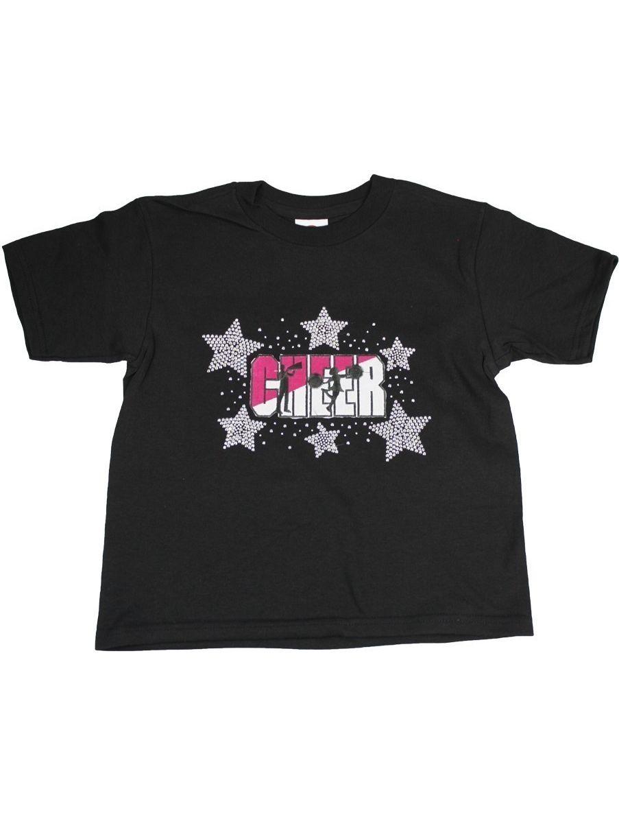 "Girls Black ""Cheer"" Star Stone Embroidered Short Sleeve Cotton T-Shirt"