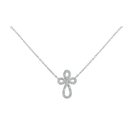 Sterling Silver Rhodium Plated White Cubic Zirconia Swirl Cross Necklace 18 Inches