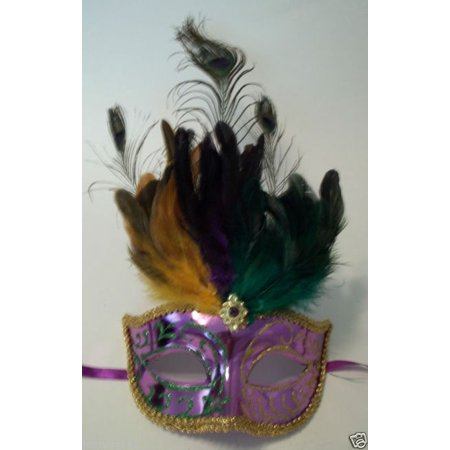 Purple Green Gold Metallic Venetian Peacock Feather Masquerade Mask - Peacock Masks