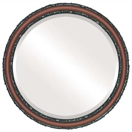 The Oval and Round Mirror Store Virginia Framed Round Mirror in Rosewood - Red - Halloween Stores In Virginia