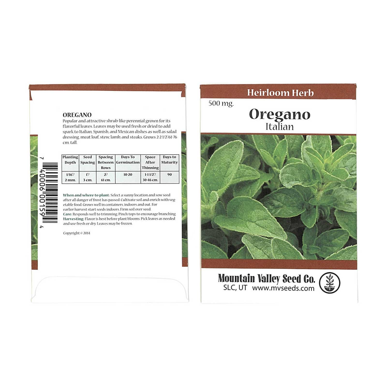 Common Italian Oregano Herb Garden Seeds - 500 mg Packet - Non-GMO, Heirloom Herbal Gardening & Micro Greens Seed