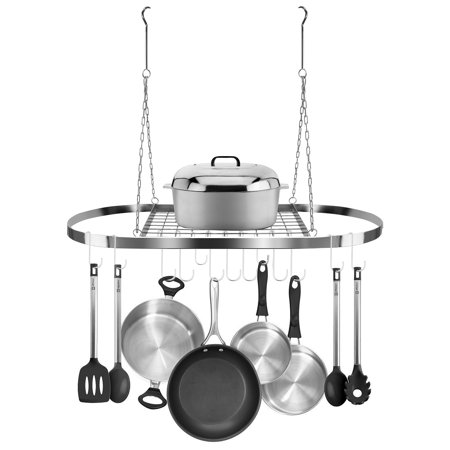 Sorbus Pot and Pan Rack for Ceiling with Hooks (CHROME)— Decorative Oval Mounted Storage -