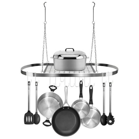 - Sorbus Pot and Pan Rack for Ceiling with Hooks (CHROME)— Decorative Oval Mounted Storage Rack
