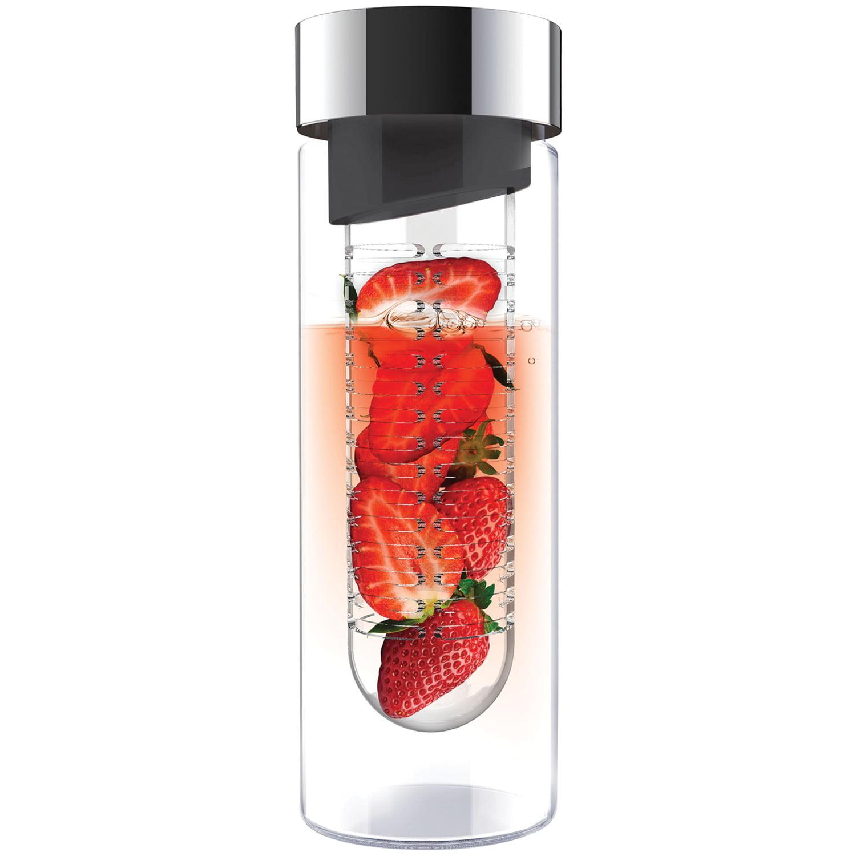 Asobu SWG11SMSIL Flavor It Glass Water Bottle (Smoke/Silver)