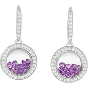 Chetan Collection Floating Purple CZ Sterling Silver Designer Earrings