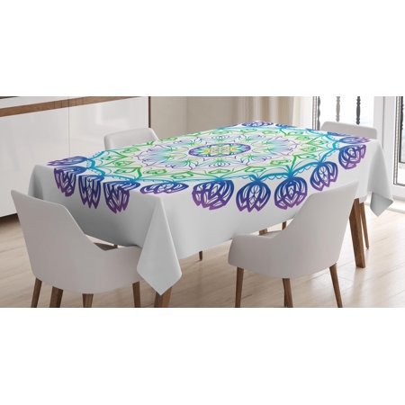 Rectangular Rosette (Rainbow Mandala Tablecloth, Boho Rosette Pattern with Hearts and Star Ornamental Oriental Composition, Rectangular Table Cover for Dining Room Kitchen, 60 X 90 Inches, Multicolor, by Ambesonne)