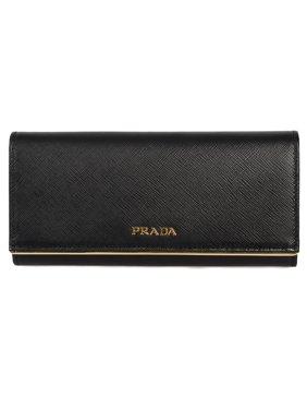 ec29fa68904b Product Image Prada Black Saffiano Leather Flap Wallet With Metal Bar  Detail 1MH132 QME F0002