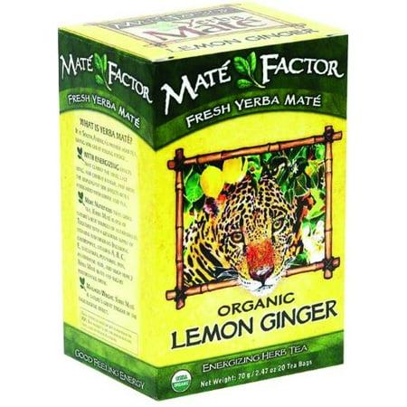 Mate facteur Yerba Mate organique citron et au gingembre 20 sachets de thé