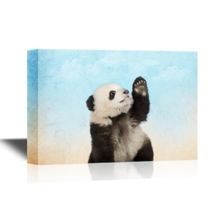 Panda Canvas Reproduction - wall26 Canvas Wall Art - Cute Panda Raising Its Hand - Gallery Wrap Modern Home Decor | Ready to Hang - 32x48 inches