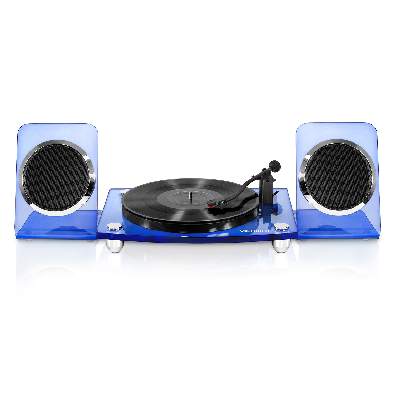 Victrola Acrylic Bluetooth 40 watt Record Player with 2-Speed Turntable and Rechargeable Speakers