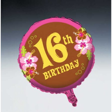 Aloha Birthday 18 inch Foil Happy 16th Birthday - Happy 16th Birthday Balloons