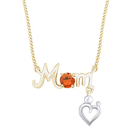 Round Shape Simulated Citrine Mom & Baby Heart Two Tone Pendant Necklace 14k Yellow Gold Over Sterling Silver