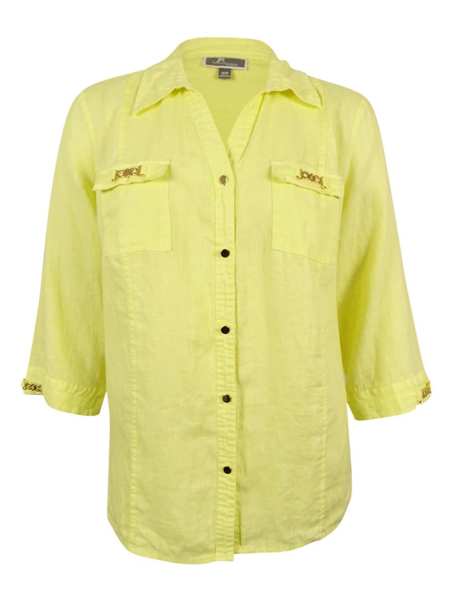 Women's Plus Size Chain-Trimmed Linen Shirt (18W, Lime Chiffon)
