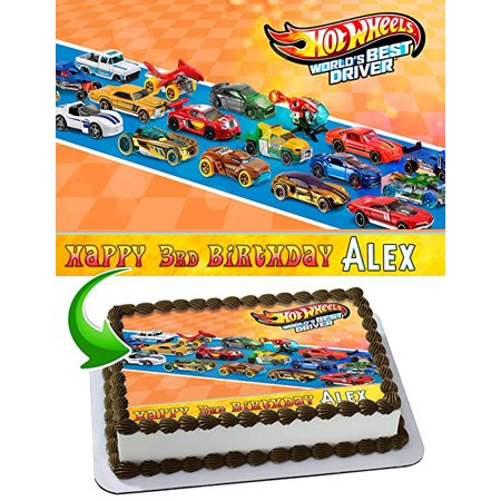 Hot Wheels Cake Image Personalized Topper Edible Image Cake Topper