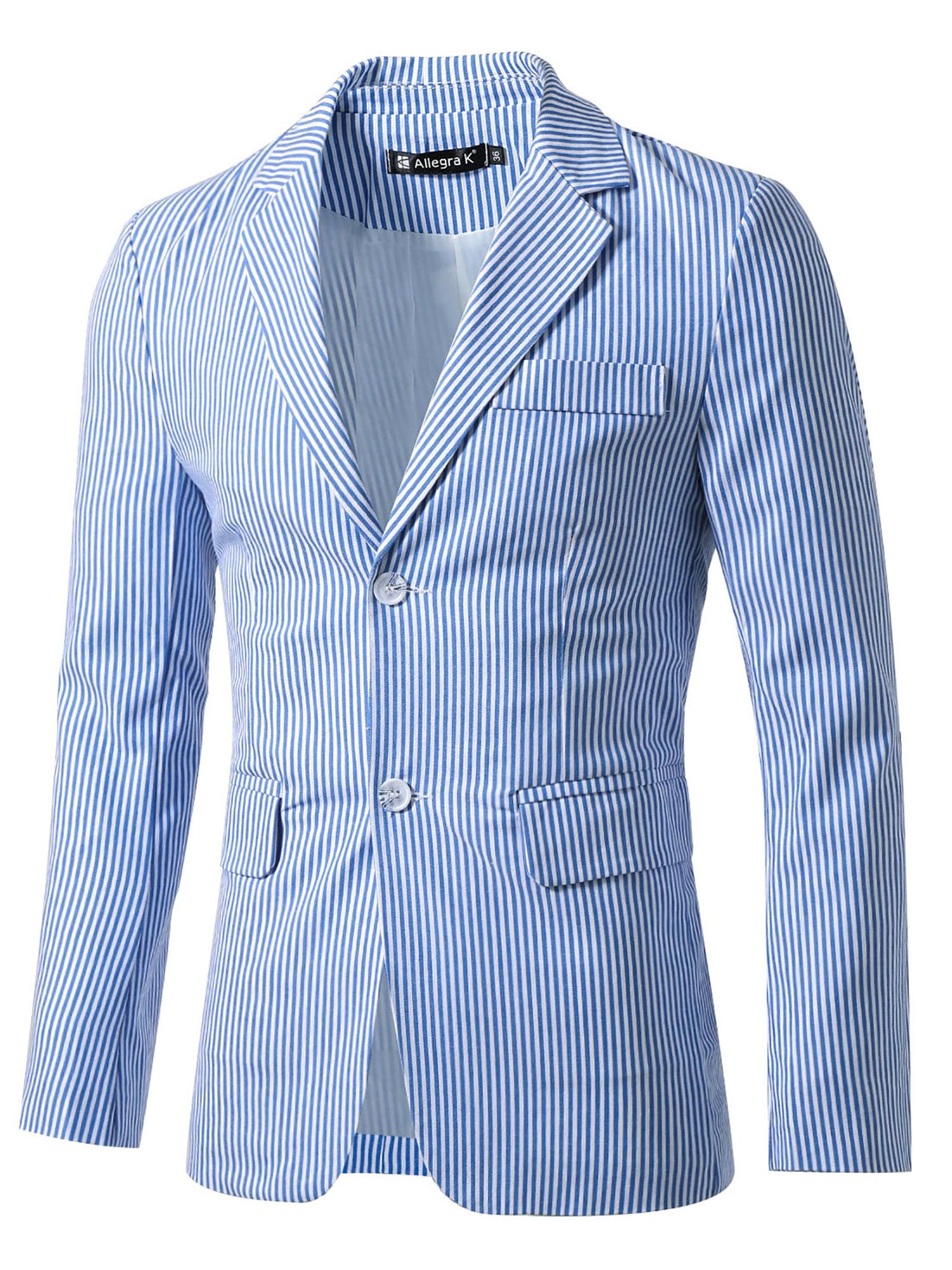 Unique Bargains Men's Stripes Notched Lapel Single Breasted Slim Fit Blazer