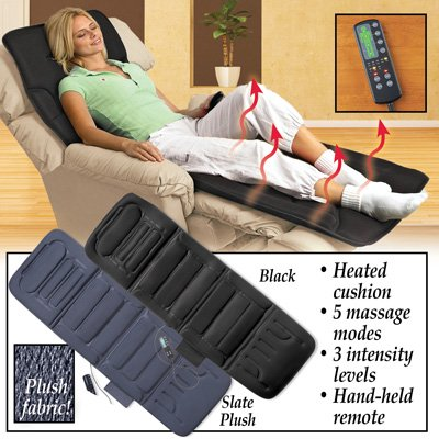 Back & Body Massager Chair Pad with Remote - 10-motor Heated, Black
