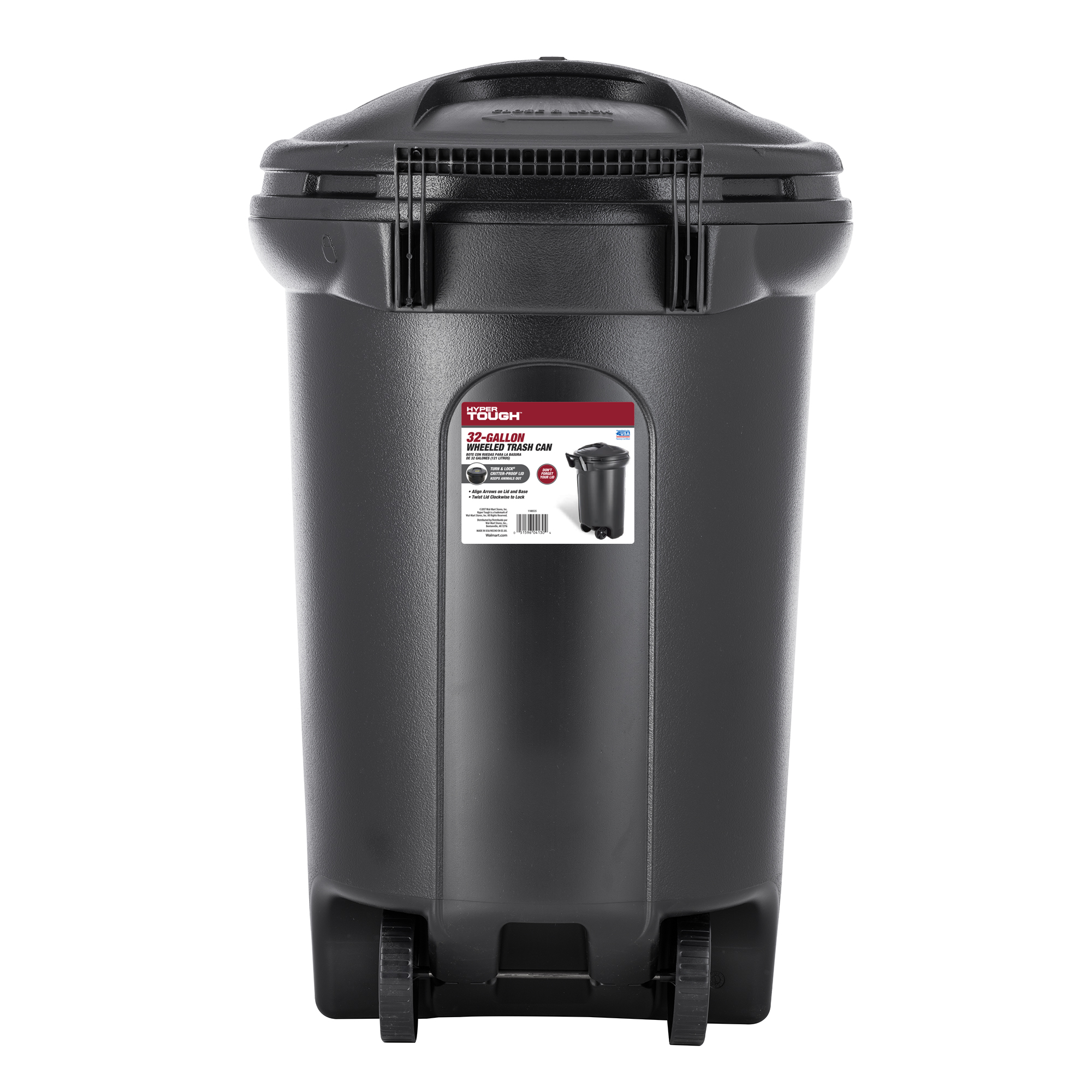Hyper Tough 32 Gallon Wheeled Trash Can with Turn & Lock Lid