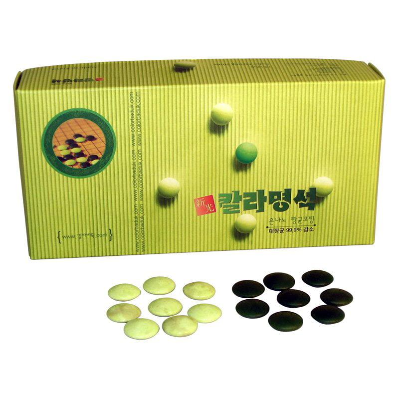 WorldWise Imports 8mm Green and Jade Glass Bi-Convex Go Stones