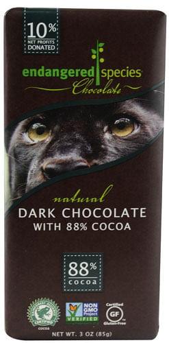 Endangered Species Chocolate Bar, Dark Chocolate, 3 Oz by Endangered Species Chocolate