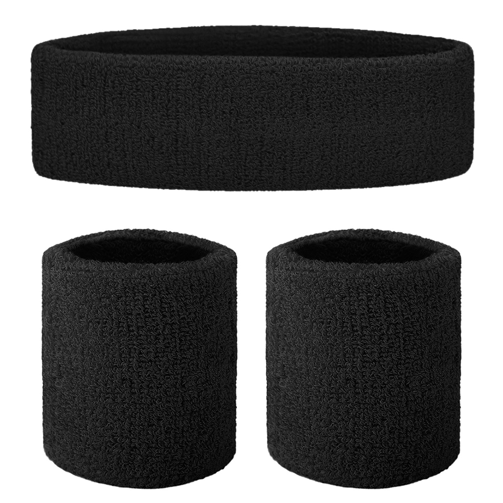Sports Headband Wristband Set ONUPGO Sweatband Set Sweatbands Terry Cloth Wristband Wrist Sweatband Headbands Moisture Wicking Sweat Absorbing Head Band 6PCS