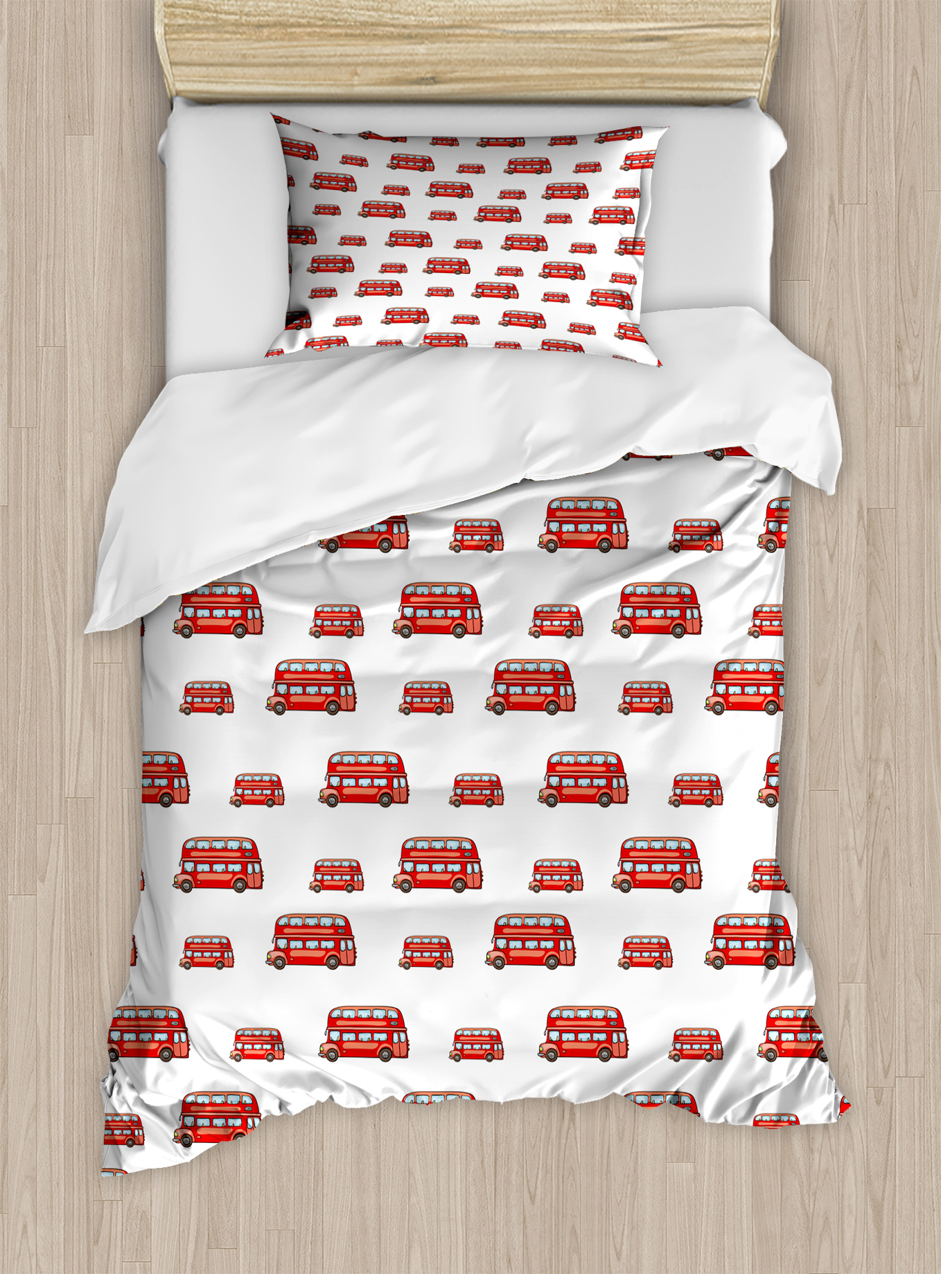 London Twin Size Duvet Cover Set, Funny Cute Kids Boys Toy Double Decker Bus... by Kozmos