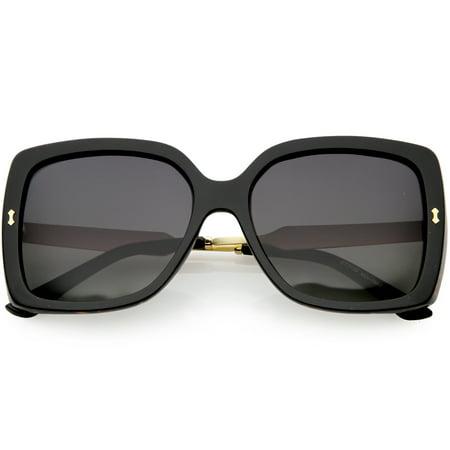 7c02c0cd0e sunglass.la - Women's Engraved Metal Arms Oversize Square Sunglasses  Polarized Lens 57mm (Black Floral / Lavender) - Walmart.com