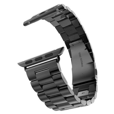 Buckle Band (VicTsing iWatch Stainless Steel 3 Points Replacement Strap Buckle Adapter Link Bracelet Space Watch Band with Connector for Apple Watch (38mm;Black))