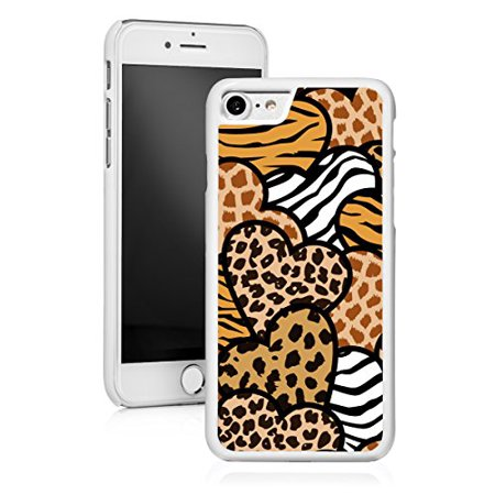For Apple iPhone Hard Back Case Cover Animal Prints Hearts (White for iPhone 8 Plus)